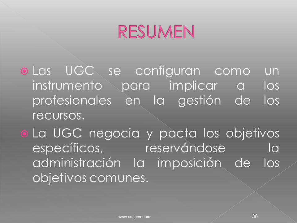  Las UGC se configuran como un instrumento para implicar a los profesionales en la gestión de los recursos.