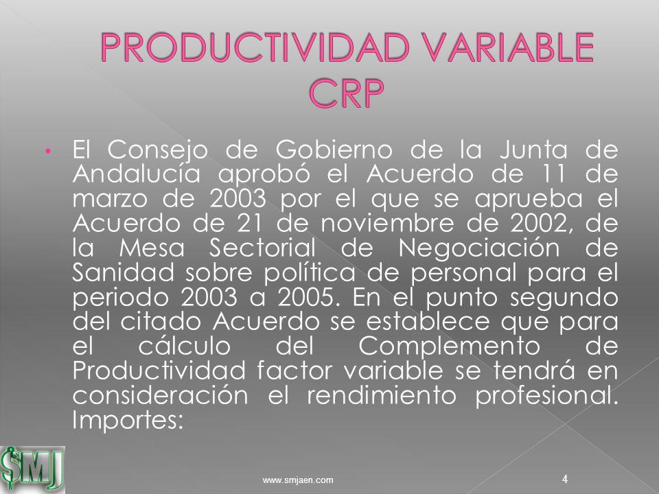 El Consejo de Gobierno de la Junta de Andalucía aprobó el Acuerdo de 11 de marzo de 2003 por el que se aprueba el Acuerdo de 21 de noviembre de 2002, de la Mesa Sectorial de Negociación de Sanidad sobre política de personal para el periodo 2003 a 2005.