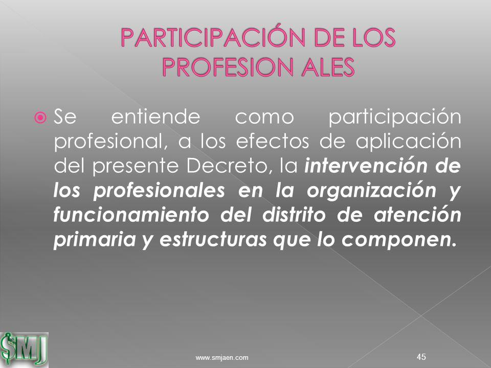  Se entiende como participación profesional, a los efectos de aplicación del presente Decreto, la intervención de los profesionales en la organización y funcionamiento del distrito de atención primaria y estructuras que lo componen.