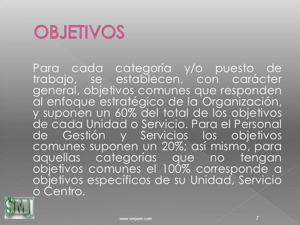 Para cada categoría y/o puesto de trabajo, se establecen, con carácter general, objetivos comunes que responden al enfoque estratégico de la Organización, y suponen un 60% del total de los objetivos de cada Unidad o Servicio.