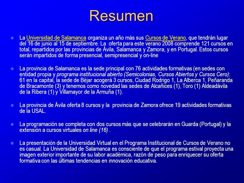 Resumen La Universidad de Salamanca organiza un año más sus Cursos de Verano, que tendrán lugar del 16 de junio al 15 de septiembre.