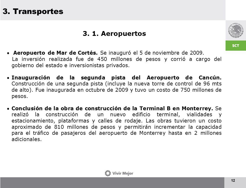 3. Transportes 12 3. 1. Aeropuertos  Aeropuerto de Mar de Cortés.