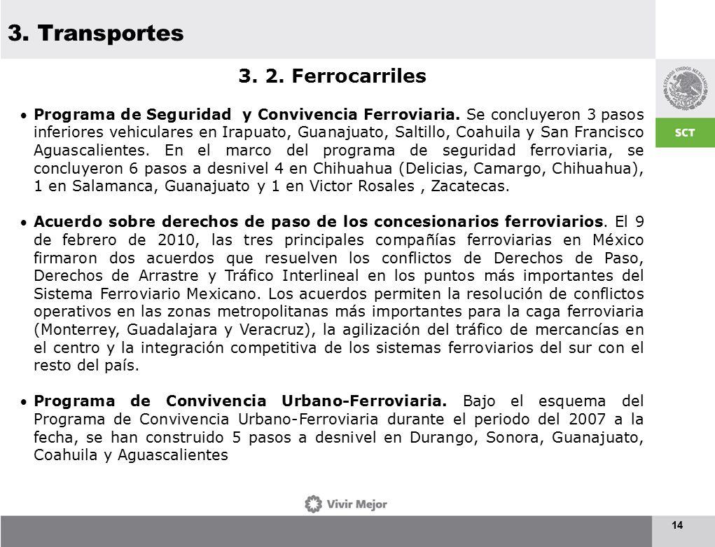 3. Transportes 14 3. 2. Ferrocarriles Programa de Seguridad y Convivencia Ferroviaria.