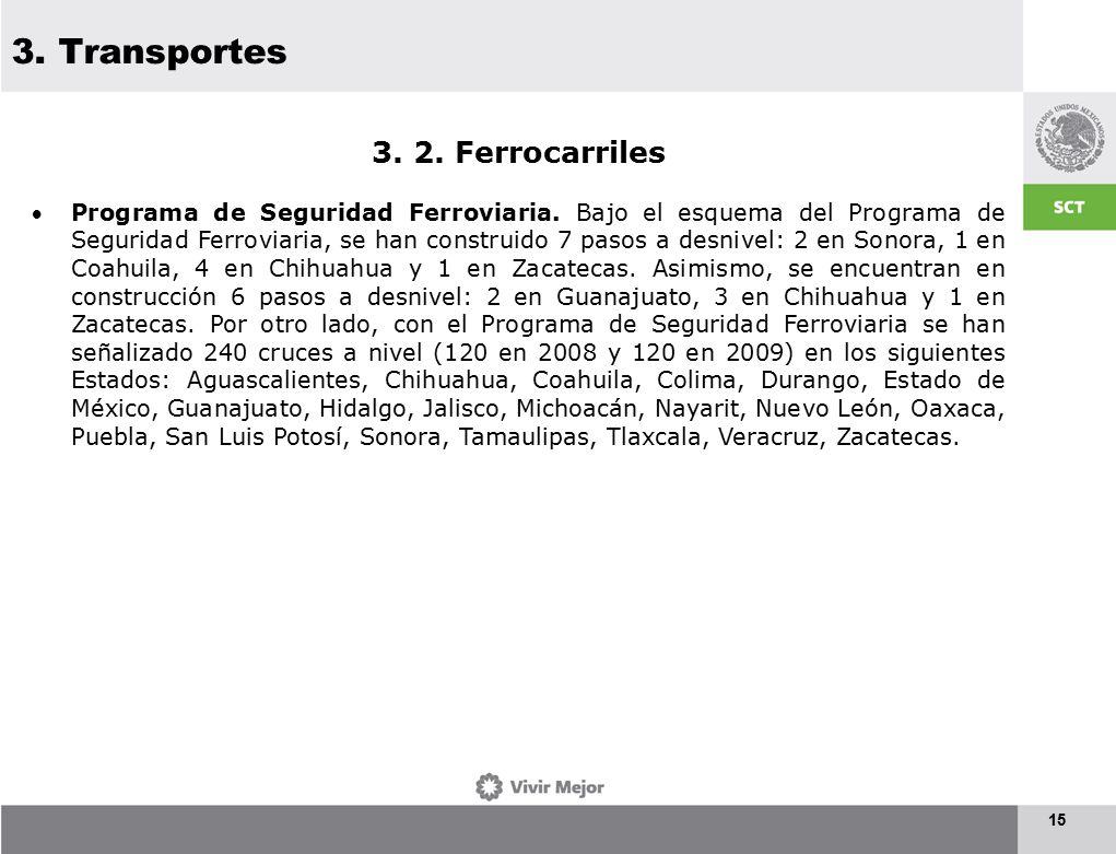 3. Transportes 15 3. 2. Ferrocarriles Programa de Seguridad Ferroviaria.