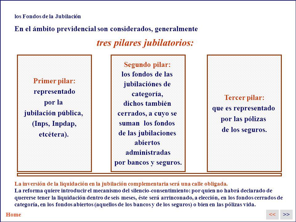 los Fondos de la Jubilación En el ámbito previdencial son considerados, generalmente tres pilares jubilatorios: Primer pilar: representado por la jubilación pública, (Inps, Inpdap, etcétera).