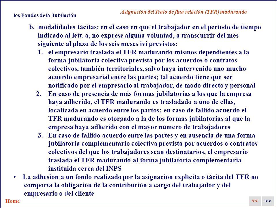los Fondos de la Jubilación Asignación del Trato de fina relación (TFR) madurando b.