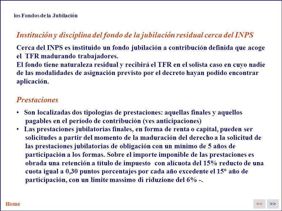 los Fondos de la Jubilación Institución y disciplina del fondo de la jubilación residual cerca del INPS Cerca del INPS es instituido un fondo jubilación a contribución definida que acoge el TFR madurando trabajadores.
