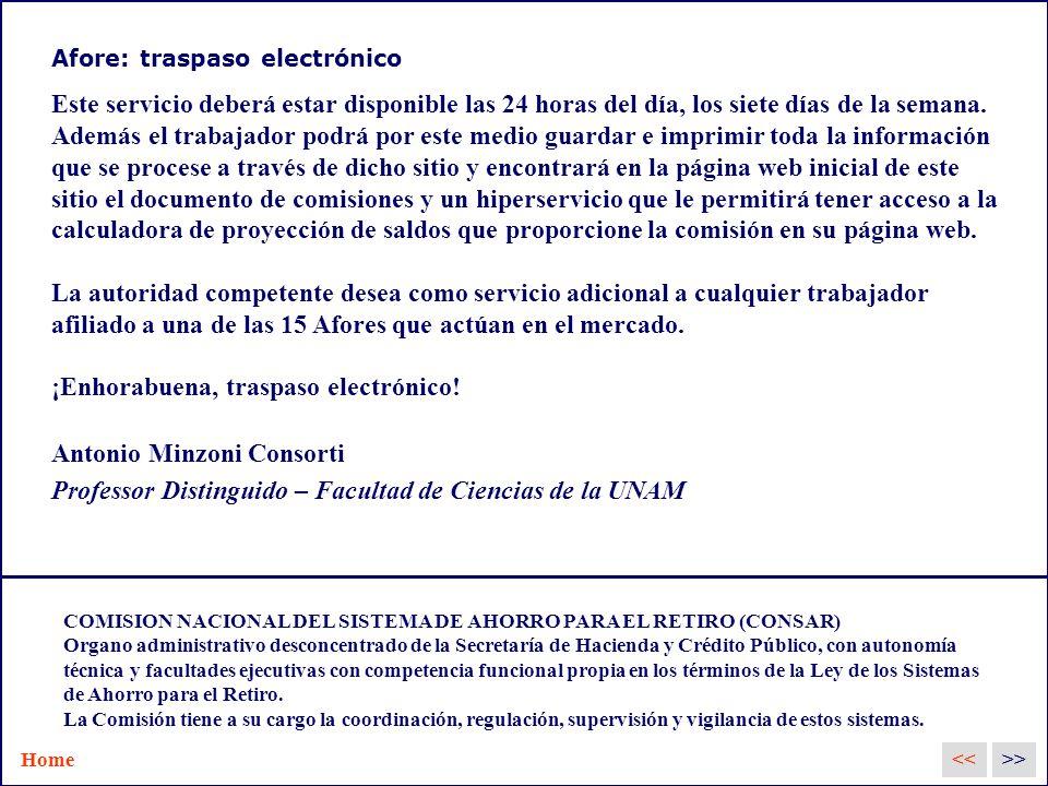 Afore: traspaso electrónico Este servicio deberá estar disponible las 24 horas del día, los siete días de la semana.