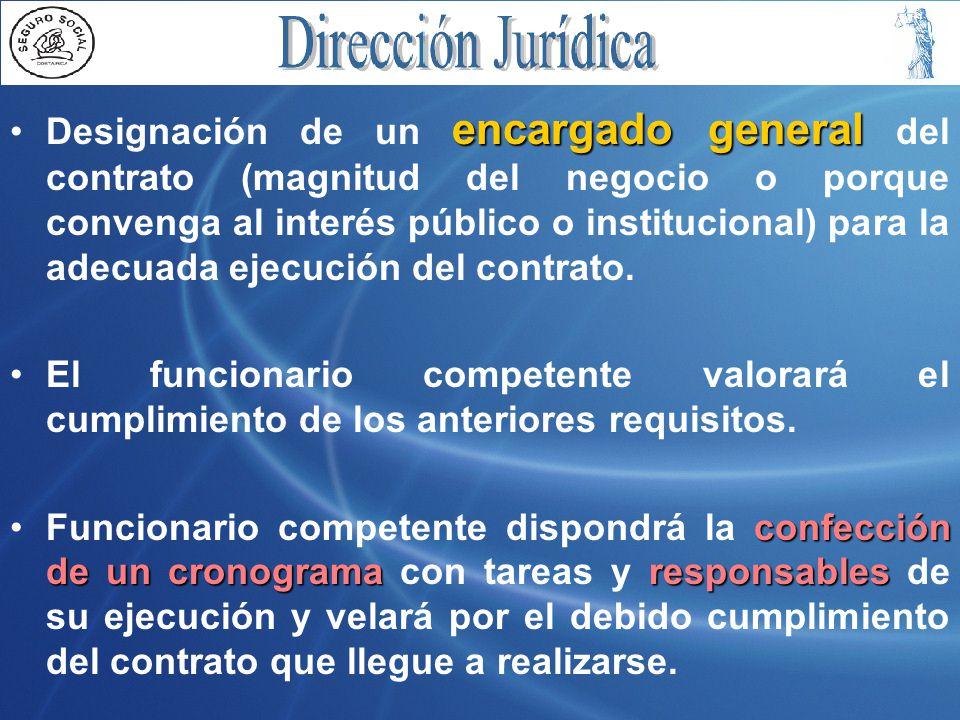 encargado generalDesignación de un encargado general del contrato (magnitud del negocio o porque convenga al interés público o institucional) para la adecuada ejecución del contrato.
