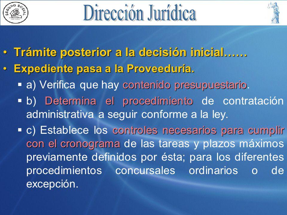 Trámite posterior a la decisión inicial……Trámite posterior a la decisión inicial…… Expediente pasa a la Proveeduría.Expediente pasa a la Proveeduría.