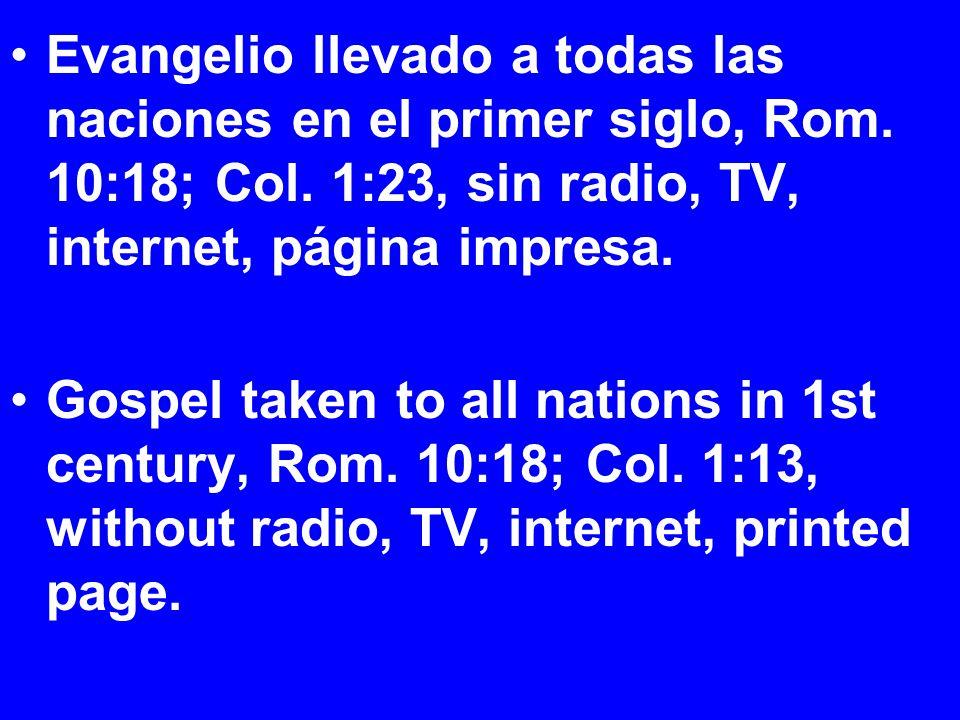 Evangelio llevado a todas las naciones en el primer siglo, Rom.