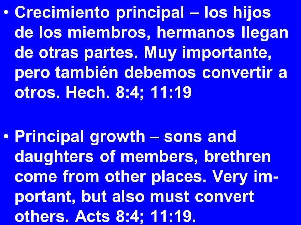 Crecimiento principal – los hijos de los miembros, hermanos llegan de otras partes.