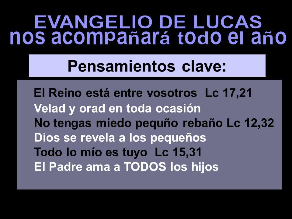 EL REINO ESTÁ ENTRE VOSOTROS HIJO, TODO LO MÍO ES TUYO evangelio de Lucas EL REINO ESTÁ ENTRE VOSOTROS Ciclo C Música: Canto tradicional catalán: Se acaban las semanas de Daniel (3')
