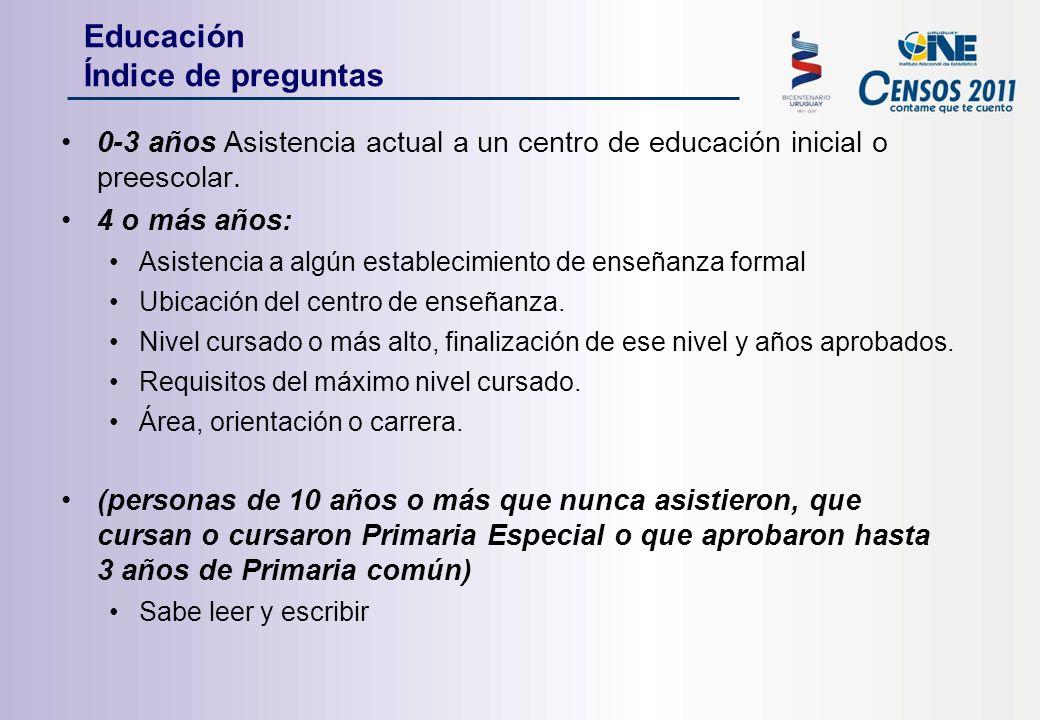 Educación Índice de preguntas 0-3 años Asistencia actual a un centro de educación inicial o preescolar.