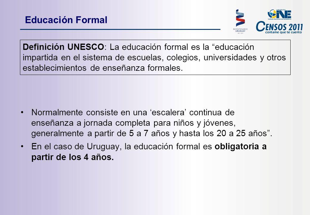 Educación Formal Definición UNESCO: La educación formal es la educación impartida en el sistema de escuelas, colegios, universidades y otros establecimientos de enseñanza formales.