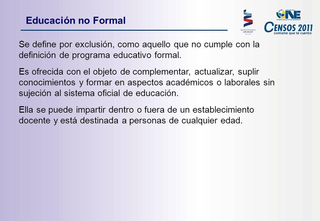 Se define por exclusión, como aquello que no cumple con la definición de programa educativo formal.