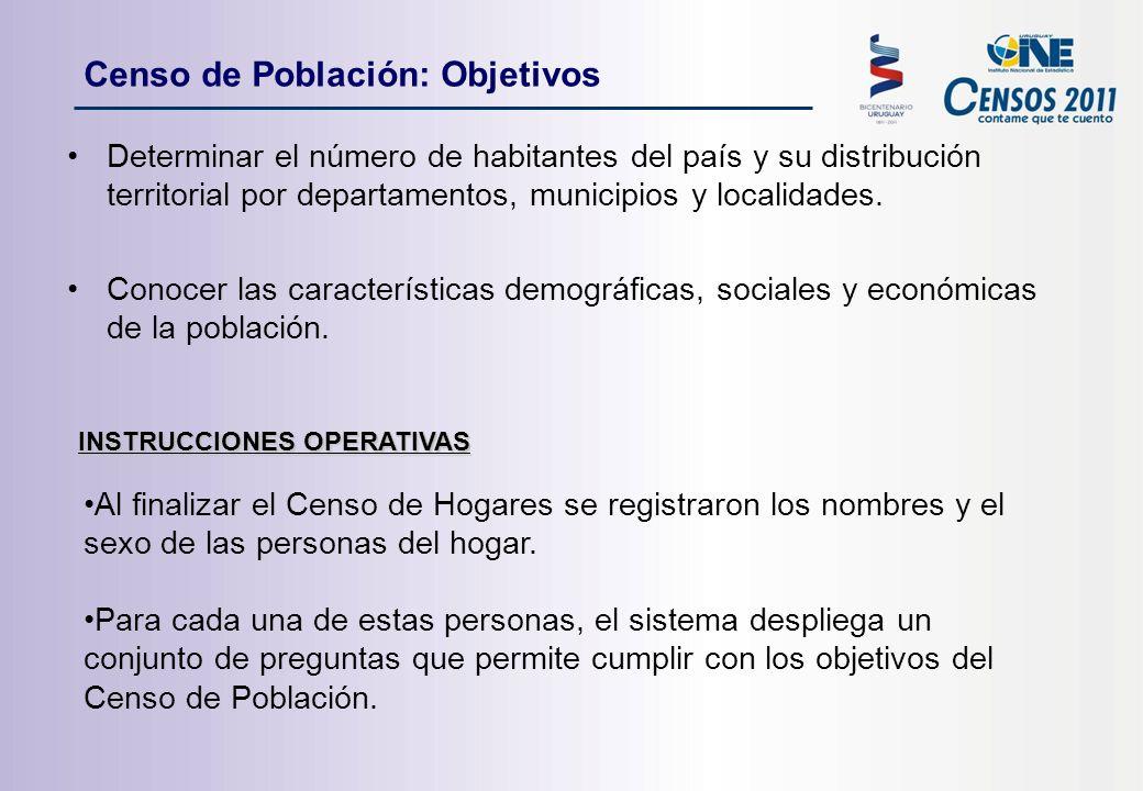 Censo de Población: Objetivos Determinar el número de habitantes del país y su distribución territorial por departamentos, municipios y localidades.