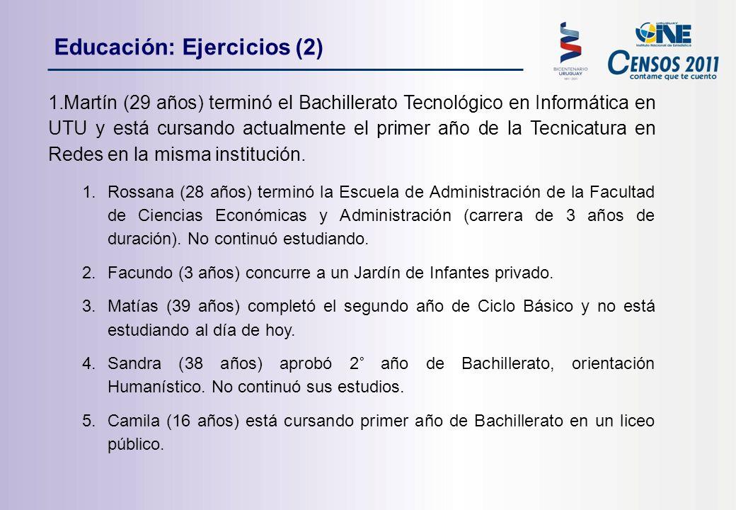 1.Martín (29 años) terminó el Bachillerato Tecnológico en Informática en UTU y está cursando actualmente el primer año de la Tecnicatura en Redes en la misma institución.