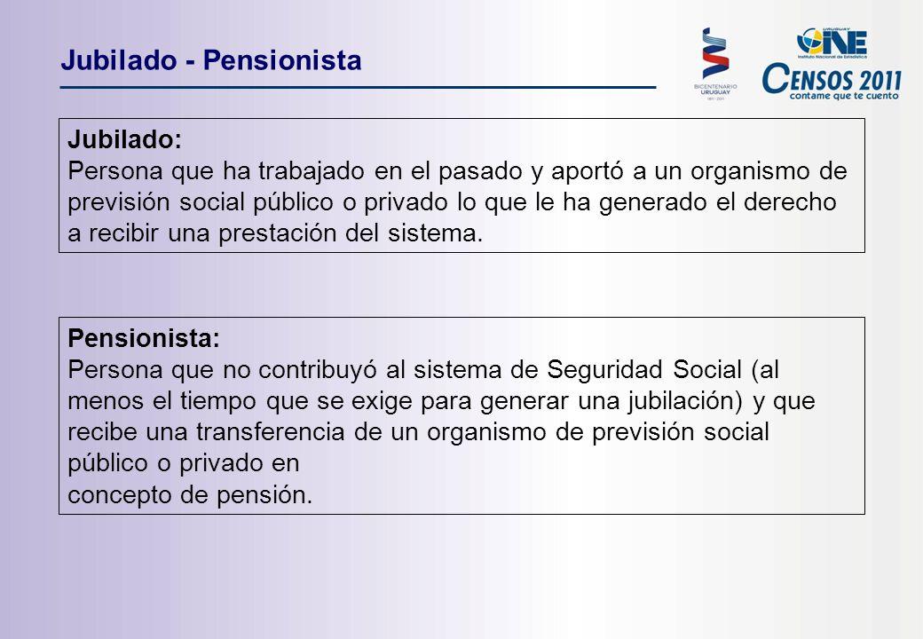 Jubilado - Pensionista Jubilado: Persona que ha trabajado en el pasado y aportó a un organismo de previsión social público o privado lo que le ha generado el derecho a recibir una prestación del sistema.