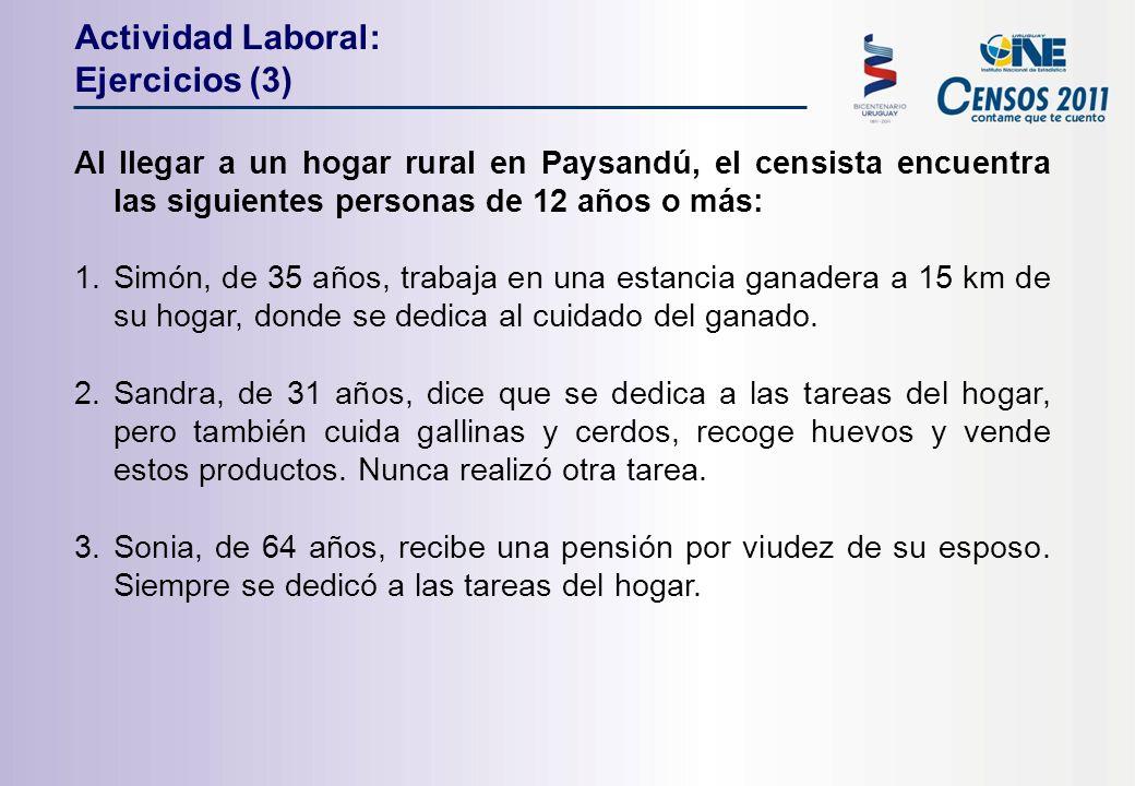 Al llegar a un hogar rural en Paysandú, el censista encuentra las siguientes personas de 12 años o más: 1.Simón, de 35 años, trabaja en una estancia ganadera a 15 km de su hogar, donde se dedica al cuidado del ganado.