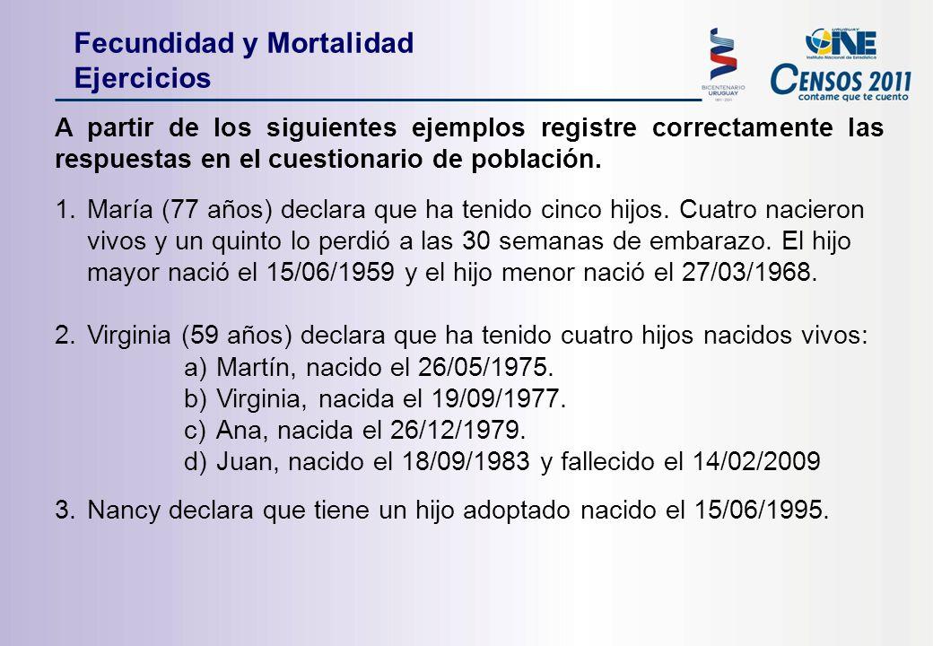 A partir de los siguientes ejemplos registre correctamente las respuestas en el cuestionario de población.
