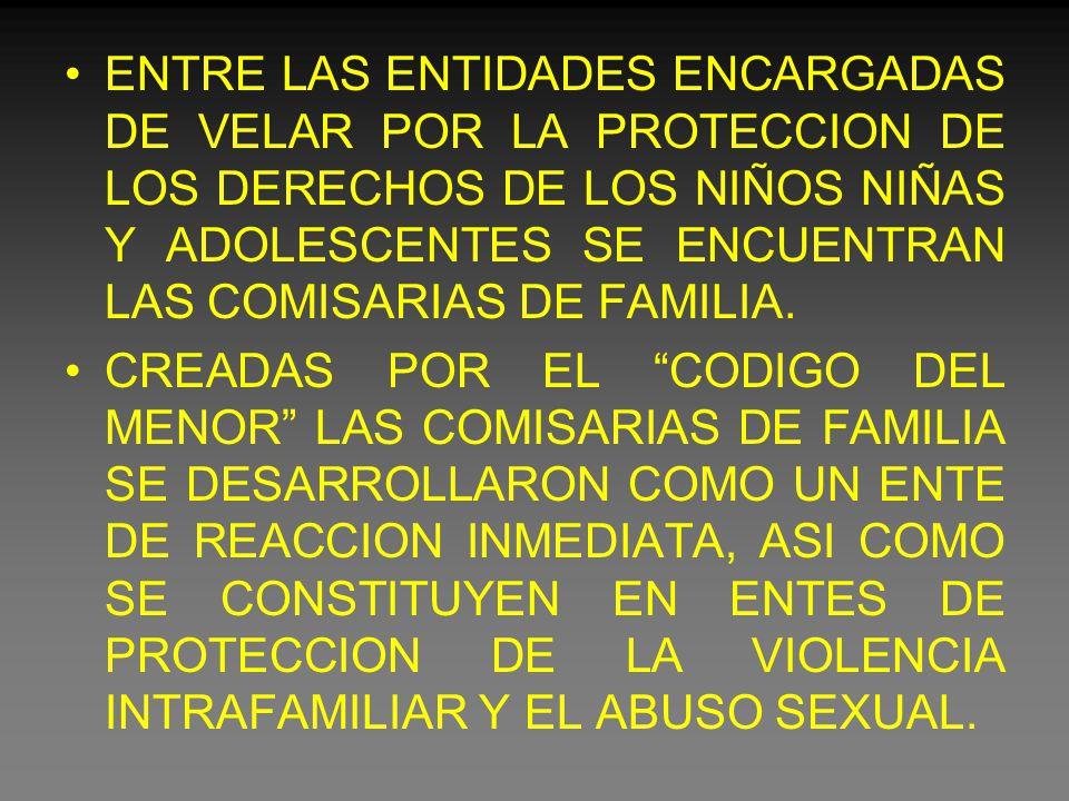 ENTRE LAS ENTIDADES ENCARGADAS DE VELAR POR LA PROTECCION DE LOS DERECHOS DE LOS NIÑOS NIÑAS Y ADOLESCENTES SE ENCUENTRAN LAS COMISARIAS DE FAMILIA.