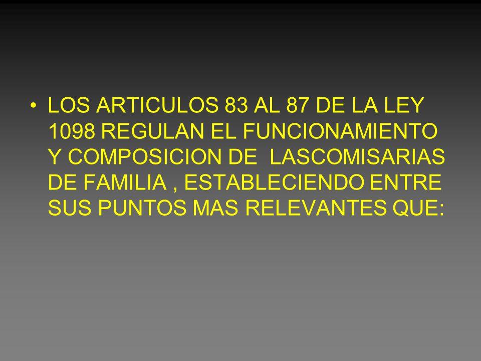 LOS ARTICULOS 83 AL 87 DE LA LEY 1098 REGULAN EL FUNCIONAMIENTO Y COMPOSICION DE LASCOMISARIAS DE FAMILIA, ESTABLECIENDO ENTRE SUS PUNTOS MAS RELEVANTES QUE: