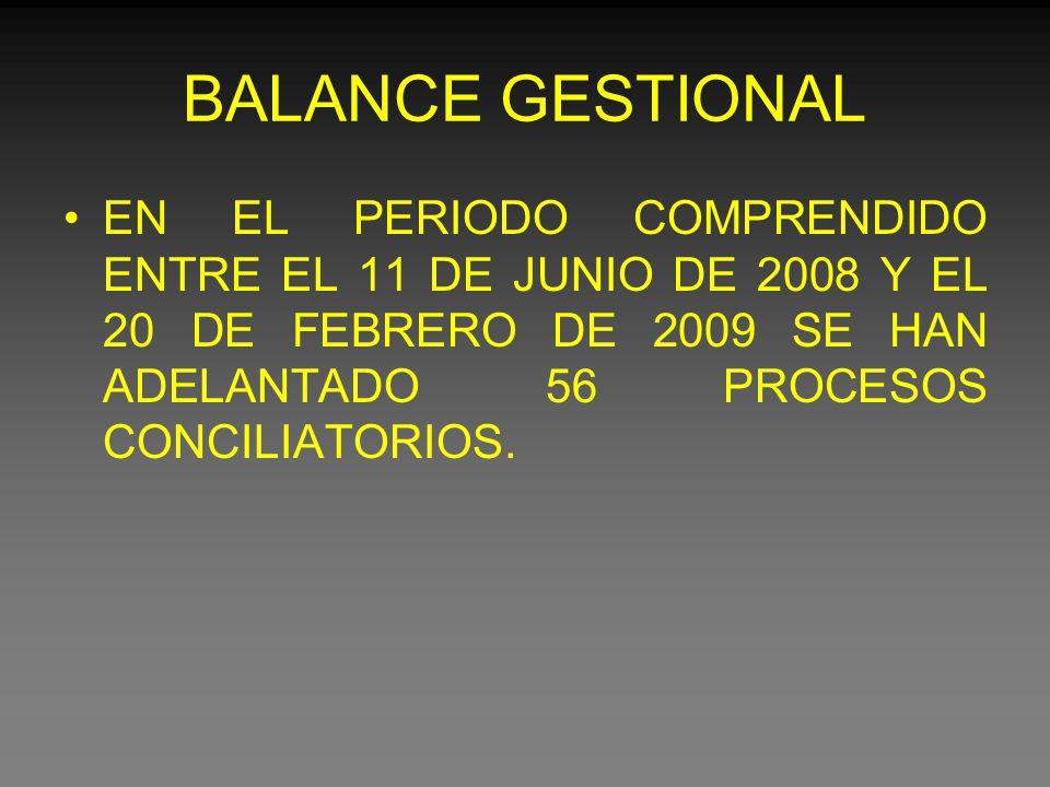 BALANCE GESTIONAL EN EL PERIODO COMPRENDIDO ENTRE EL 11 DE JUNIO DE 2008 Y EL 20 DE FEBRERO DE 2009 SE HAN ADELANTADO 56 PROCESOS CONCILIATORIOS.