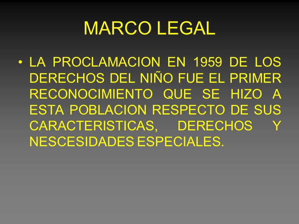 MARCO LEGAL LA PROCLAMACION EN 1959 DE LOS DERECHOS DEL NIÑO FUE EL PRIMER RECONOCIMIENTO QUE SE HIZO A ESTA POBLACION RESPECTO DE SUS CARACTERISTICAS, DERECHOS Y NESCESIDADES ESPECIALES.