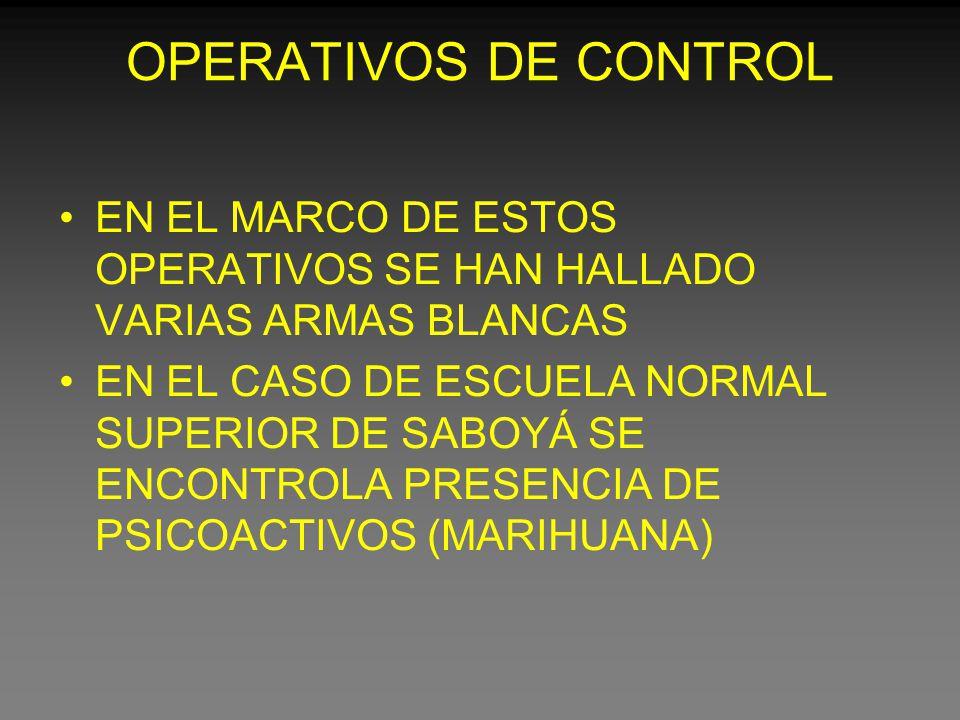 OPERATIVOS DE CONTROL EN EL MARCO DE ESTOS OPERATIVOS SE HAN HALLADO VARIAS ARMAS BLANCAS EN EL CASO DE ESCUELA NORMAL SUPERIOR DE SABOYÁ SE ENCONTROLA PRESENCIA DE PSICOACTIVOS (MARIHUANA)