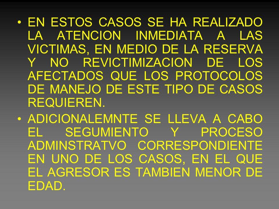 EN ESTOS CASOS SE HA REALIZADO LA ATENCION INMEDIATA A LAS VICTIMAS, EN MEDIO DE LA RESERVA Y NO REVICTIMIZACION DE LOS AFECTADOS QUE LOS PROTOCOLOS DE MANEJO DE ESTE TIPO DE CASOS REQUIEREN.