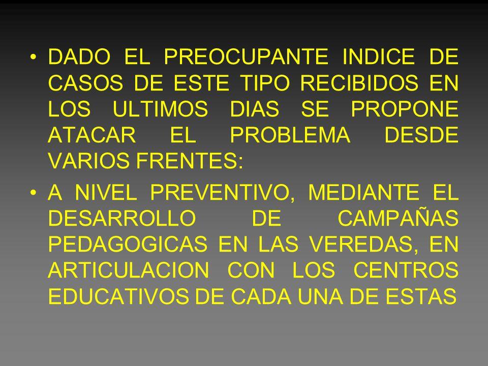 DADO EL PREOCUPANTE INDICE DE CASOS DE ESTE TIPO RECIBIDOS EN LOS ULTIMOS DIAS SE PROPONE ATACAR EL PROBLEMA DESDE VARIOS FRENTES: A NIVEL PREVENTIVO, MEDIANTE EL DESARROLLO DE CAMPAÑAS PEDAGOGICAS EN LAS VEREDAS, EN ARTICULACION CON LOS CENTROS EDUCATIVOS DE CADA UNA DE ESTAS