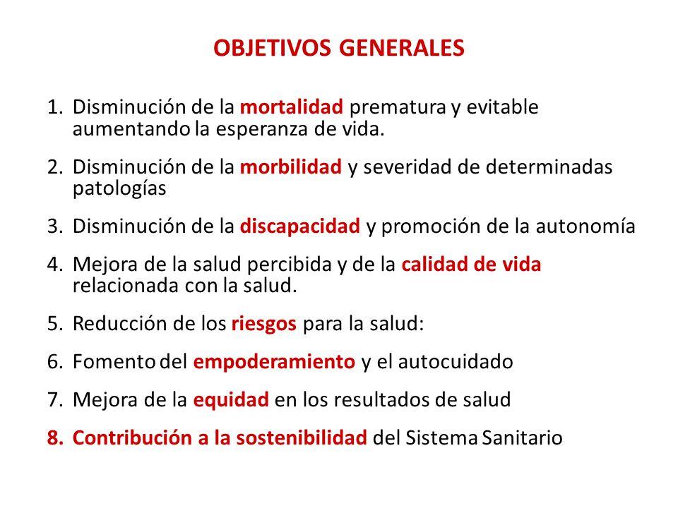 OBJETIVOS GENERALES 1.Disminución de la mortalidad prematura y evitable aumentando la esperanza de vida.