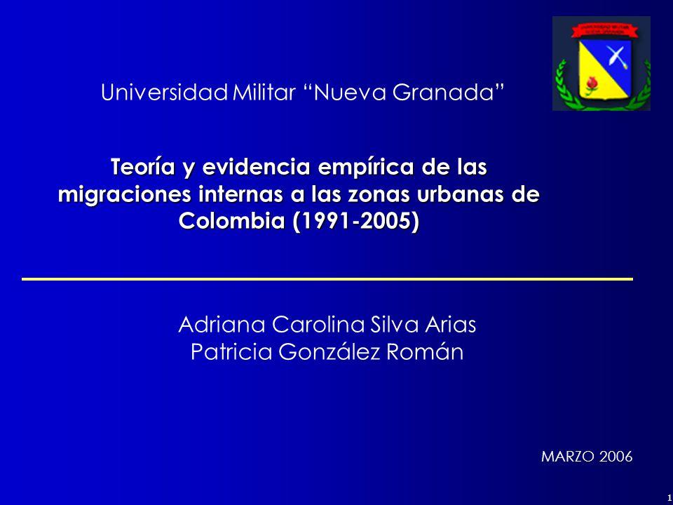 1 Teoría y evidencia empírica de las migraciones internas a las zonas urbanas de Colombia (1991-2005) MARZO 2006 Adriana Carolina Silva Arias Patricia González Román Universidad Militar Nueva Granada