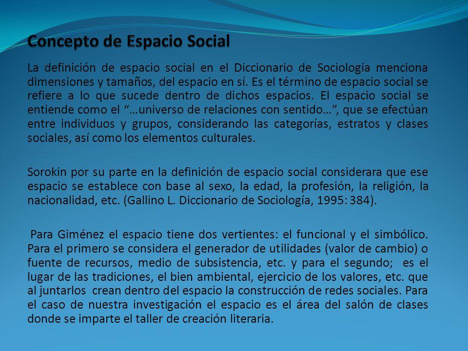 La definición de espacio social en el Diccionario de Sociología menciona dimensiones y tamaños, del espacio en sí.