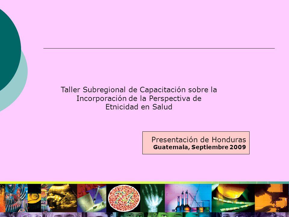 Taller Subregional de Capacitación sobre la Incorporación de la Perspectiva de Etnicidad en Salud Presentación de Honduras Guatemala, Septiembre 2009