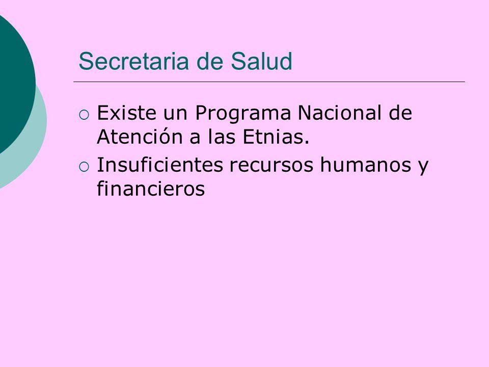 Secretaria de Salud  Existe un Programa Nacional de Atención a las Etnias.
