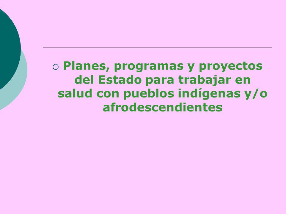  Planes, programas y proyectos del Estado para trabajar en salud con pueblos indígenas y/o afrodescendientes