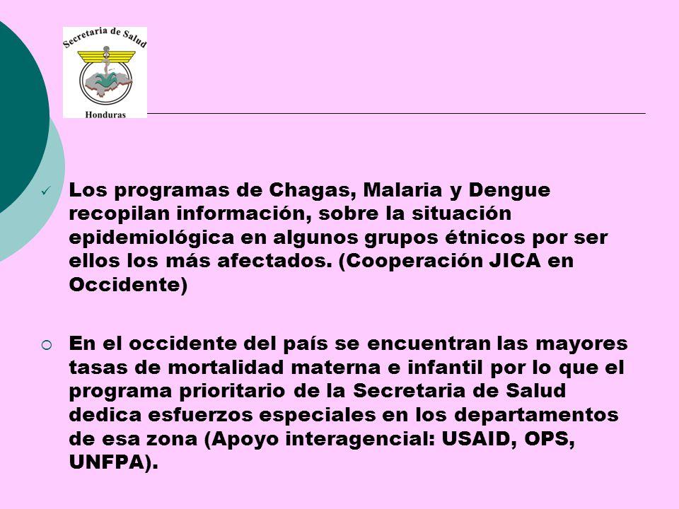 Los programas de Chagas, Malaria y Dengue recopilan información, sobre la situación epidemiológica en algunos grupos étnicos por ser ellos los más afectados.