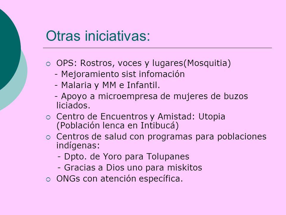 Otras iniciativas:  OPS: Rostros, voces y lugares(Mosquitia) - Mejoramiento sist infomación - Malaria y MM e Infantil.