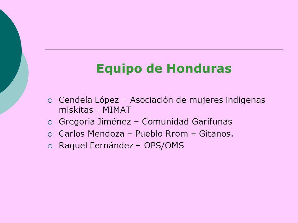 Equipo de Honduras  Cendela López – Asociación de mujeres indígenas miskitas - MIMAT  Gregoria Jiménez – Comunidad Garifunas  Carlos Mendoza – Pueblo Rrom – Gitanos.