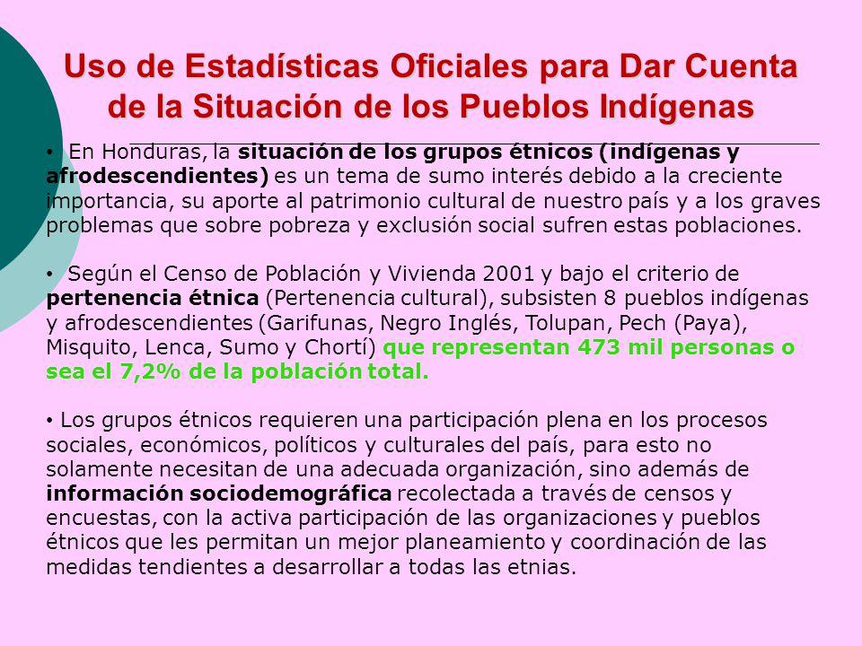 En Honduras, la situación de los grupos étnicos (indígenas y afrodescendientes) es un tema de sumo interés debido a la creciente importancia, su aporte al patrimonio cultural de nuestro país y a los graves problemas que sobre pobreza y exclusión social sufren estas poblaciones.