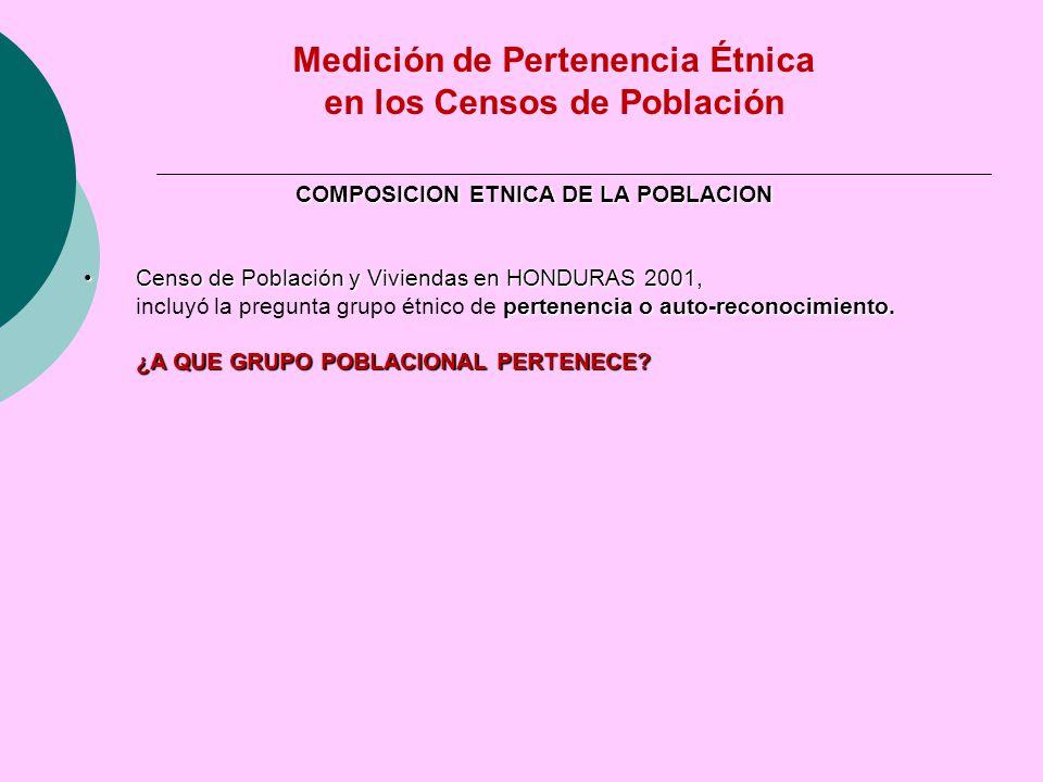 COMPOSICION ETNICA DE LA POBLACION Censo de Población y Viviendas en HONDURAS 2001,Censo de Población y Viviendas en HONDURAS 2001, pertenencia o auto-reconocimiento.