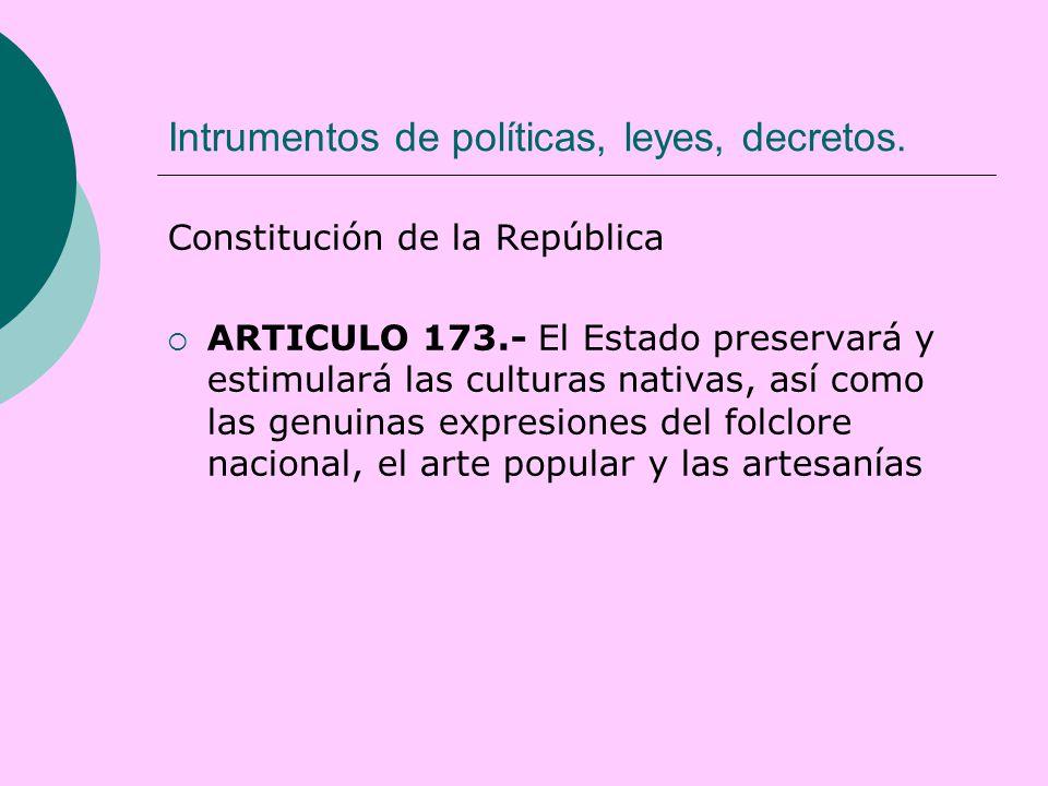 Intrumentos de políticas, leyes, decretos.