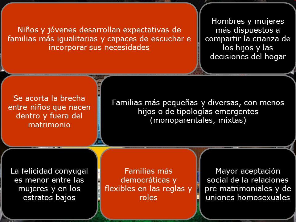 LA FAMILIA CHILENA Niños y jóvenes desarrollan expectativas de familias más igualitarias y capaces de escuchar e incorporar sus necesidades Hombres y mujeres más dispuestos a compartir la crianza de los hijos y las decisiones del hogar Se acorta la brecha entre niños que nacen dentro y fuera del matrimonio Familias más pequeñas y diversas, con menos hijos o de tipologías emergentes (monoparentales, mixtas) La felicidad conyugal es menor entre las mujeres y en los estratos bajos Familias más democráticas y flexibles en las reglas y roles Mayor aceptación social de la relaciones pre matrimoniales y de uniones homosexuales