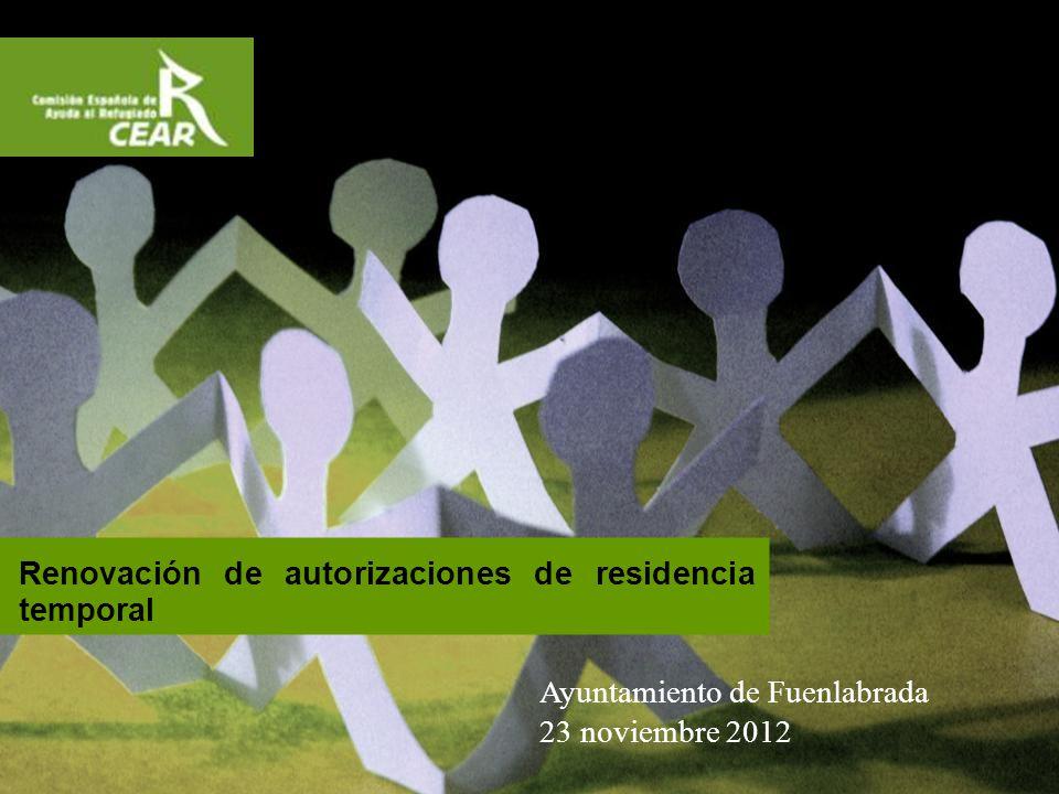 Renovación de autorizaciones de residencia temporal Ayuntamiento de Fuenlabrada 23 noviembre 2012