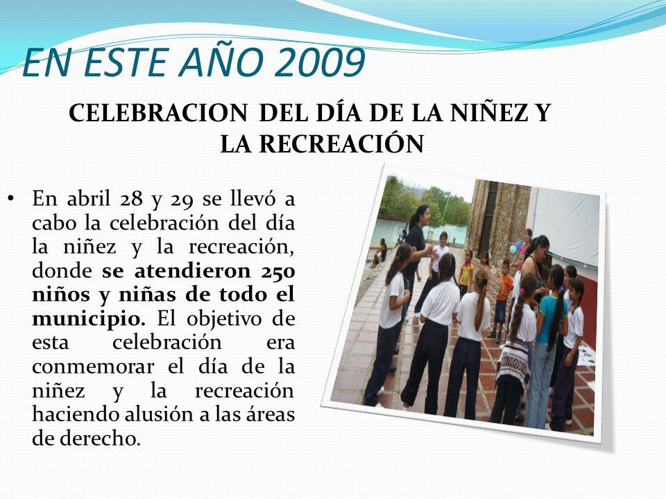 EN ESTE AÑO 2009 En abril 28 y 29 se llevó a cabo la celebración del día la niñez y la recreación, donde se atendieron 250 niños y niñas de todo el municipio.