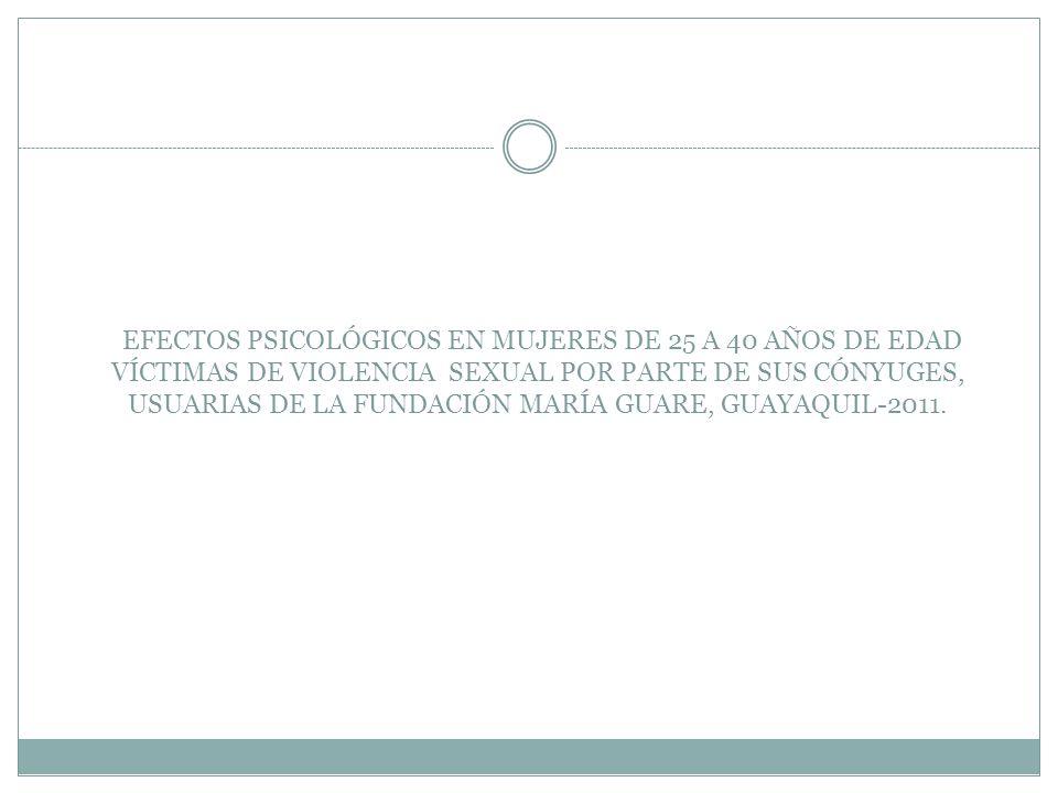 EFECTOS PSICOLÓGICOS EN MUJERES DE 25 A 40 AÑOS DE EDAD VÍCTIMAS DE VIOLENCIA SEXUAL POR PARTE DE SUS CÓNYUGES, USUARIAS DE LA FUNDACIÓN MARÍA GUARE, GUAYAQUIL-2011.