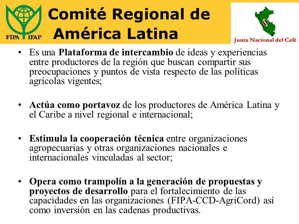 Comité Regional de América Latina Es una Plataforma de intercambio de ideas y experiencias entre productores de la región que buscan compartir sus preocupaciones y puntos de vista respecto de las políticas agrícolas vigentes; Actúa como portavoz de los productores de América Latina y el Caribe a nivel regional e internacional; Estimula la cooperación técnica entre organizaciones agropecuarias y otras organizaciones nacionales e internacionales vinculadas al sector; Opera como trampolín a la generación de propuestas y proyectos de desarrollo para el fortalecimiento de las capacidades en las organizaciones (FIPA-CCD-AgriCord) así como inversión en las cadenas productivas.
