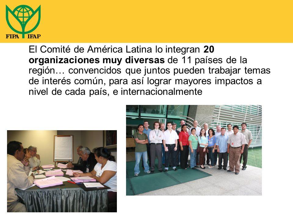 El Comité de América Latina lo integran 20 organizaciones muy diversas de 11 países de la región… convencidos que juntos pueden trabajar temas de interés común, para así lograr mayores impactos a nivel de cada país, e internacionalmente